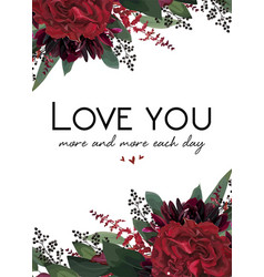 Floral greeting valentine gift card design vector