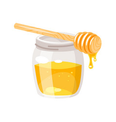 glass honey jar vector image vector image