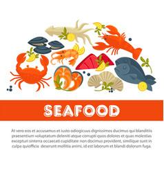 seafood fresh fish poster sea food restaurant vector image