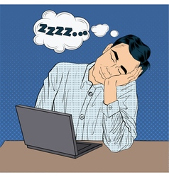 Tired Sleeping Businessman at Work Pop Art Style vector image