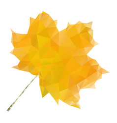 yellow maple leaf in low poly style vector image vector image