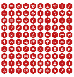 100 fire icons hexagon red vector