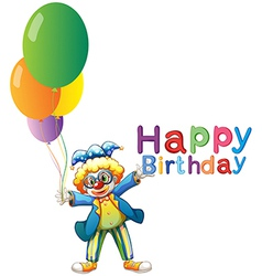 A clown with balloons and a Happy Birthday vector
