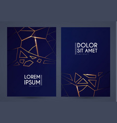 abstract geometric flyer collections with gold vector image