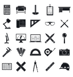 Architect tool icons set simple style vector