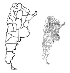 Argentina outline map administrative regions vector