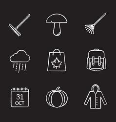 Autumn season chalk icons set vector