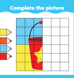 Bach toy bucket complete picture grid vector