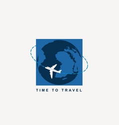 banner for air transportation with planet earth vector image