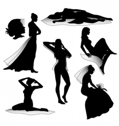 Beautiful girl silhouettes vector
