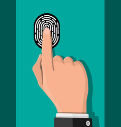 black and white fingerprint with hand vector image