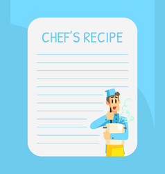 Blank recipe card template with cheerful chef vector