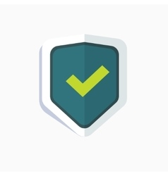 Blue shield with green check mark symbol icon vector image