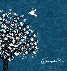 Blue tree silhouette vector image
