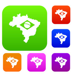 brazil map with flag set color collection vector image