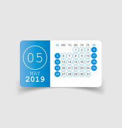 Calendar may 2019 year in paper sticker with vector