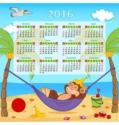 Calendar with monkey on hammock 2016 vector