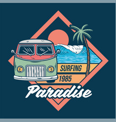 car for surfing trip print vector image