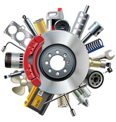 Car Spares Concept with Disk Brake vector image