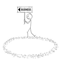 Cartoon of businessman holding business sign and vector