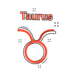 cartoon taurus zodiac icon in comic style vector image