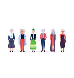 Casual mature women standing together smiling mix vector