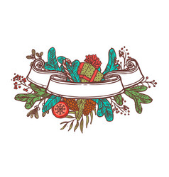 christmas color ribbon banner for text vector image