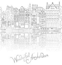 city view of Amsterdam canal vector image