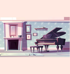Classic living room with piano cartoon vector