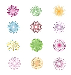 Color holiday party festival firework icons vector