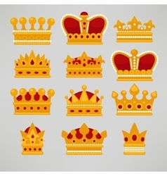 Crown icons flat royal set vector image