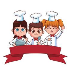 Cute chef children cartoon vector