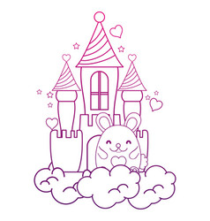 Degraded outline cute female mouse in the castle vector