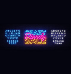 diwali crazy sale neon text design template vector image