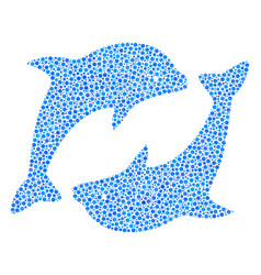 Dolphins composition dots vector