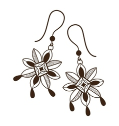 Earrings with flowers vector