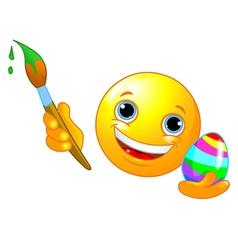 Emoticon coloring Easter Egg vector