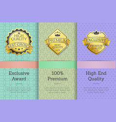 exclusive award 100 premium high quality labels vector image