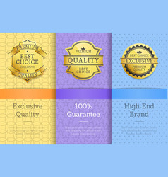 exclusive quality 100 guarantee high end labels vector image