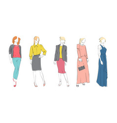 fashion collection of clothes female models set vector image