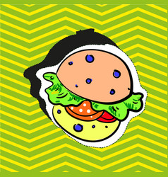 Fashion patch badge pin stocker with burger pop vector