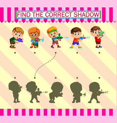 Find correct shadow kids playing water gun vector