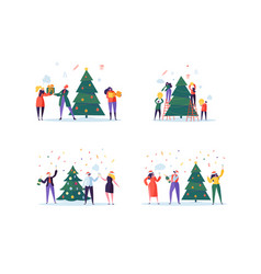 Flat happy people decorating christmas tree vector