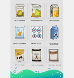flexible and pouch packaging set flat icons vector image