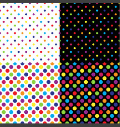 four different seamless colorful polka dot pattern vector image