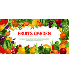 Fruit and berry frame with leaf poster design vector
