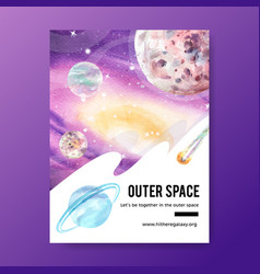 Galaxy poster design with cosmos asteroid neptune vector