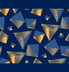 gold and blue geometric shapes in dynamic chaos vector image
