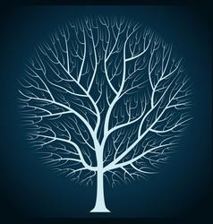 graphic design bright tree silhouette on a dark vector image