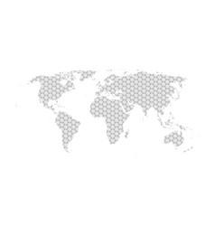 Grey hexagon world map flat vector